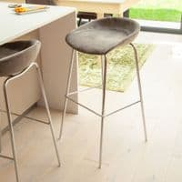 x2 Herschel Royal Blue Velvet Barstools, with Silver. Legs